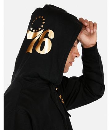 Express Mens Philadelphia 76ers Nba Fleece Foil Graphic Hoodie
