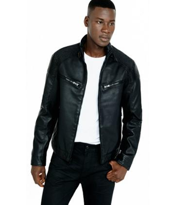 Express Men's Leather Jackets Ribbed (minus The) Leather Bomber Jacket