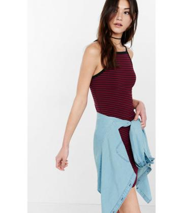 Express Women's Tees Striped Square Neck T-shirt