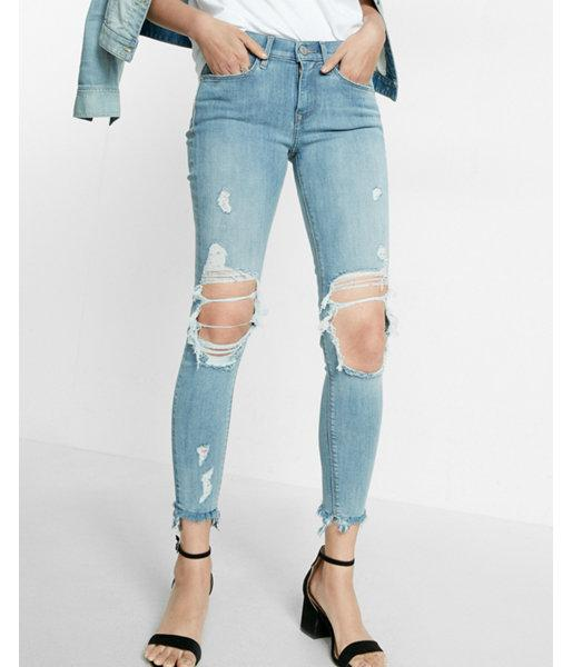 Express Mid Rise Distressed Frayed Ankle Jean