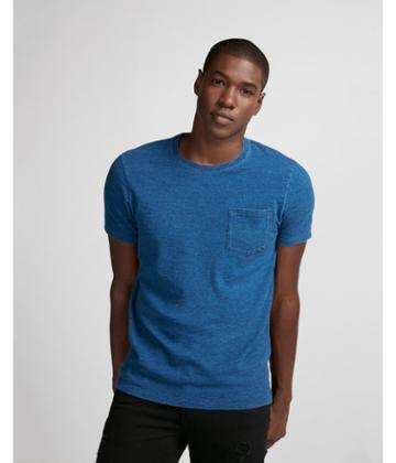 Express Mens Solid Pocket Crew Neck Tee