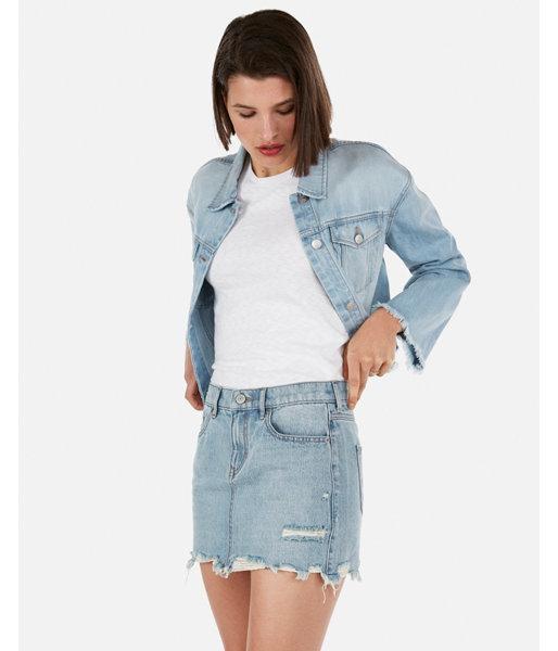 Express Womens Mid Rise Medium Wash Distressed Mini Jean