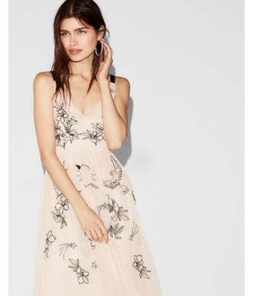 Express Womens Floral Embellished Fit And Flare Dress