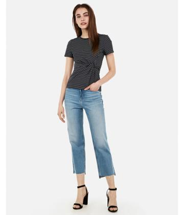 Express Womens Striped Twist Front Tee