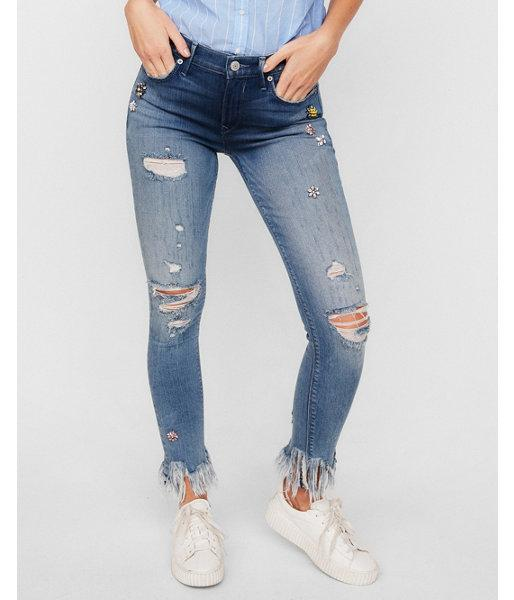 Express Womens Express Womens Petite Mid Rise Embellished Stretch Ankle Jean