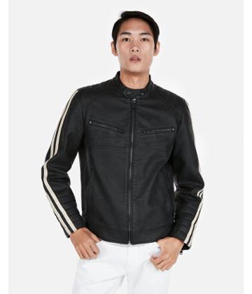Express Mens Faux Leather Stripe Sleeve Biker Jacket
