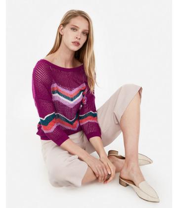 Express Womens Chevron Open Stitch Pullover