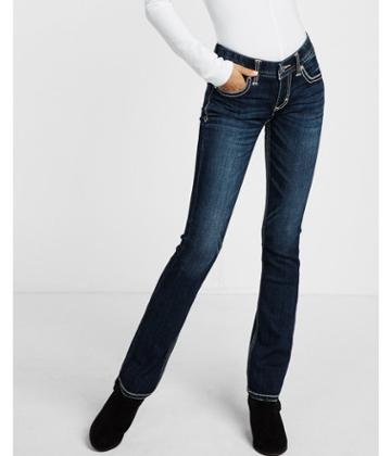Express Low Rise Thick Stitch Stretch Barely Boot Jeans