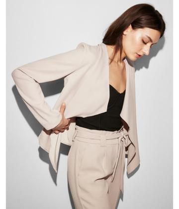 Express Womens Petite Drape Open Front Jacket