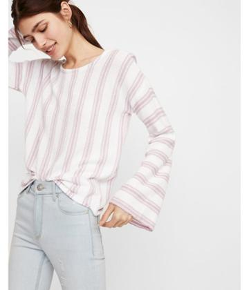 Express Womens Striped Scoop Back Flare