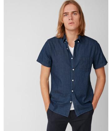 Express Mens Soft Wash Denim Short Sleeve Cotton