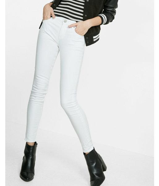 Express Women's Jean Leggings White Mid Rise Jean