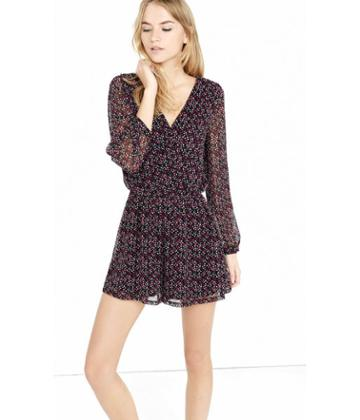 Express Women's Rompers & Jumpsuits Abstract Print Long Sleeve Surplice Romper