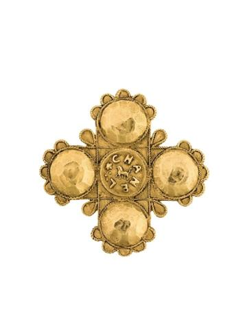 Chanel Pre-owned Collectable Lion Cross Brooch - Metallic