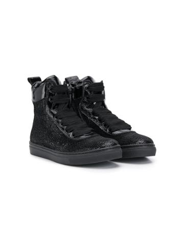 Andrea Montelpare Teen Laminated High-top Sneakers - Black