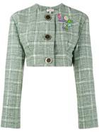 Natasha Zinko Cropped Tweed Jacket - Green