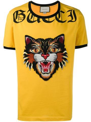 Gucci - Angry Cat Appliqué T-shirt - Men - Cotton - Xl, Yellow/orange, Cotton