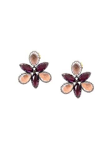 Larkspur & Hawk Bellini Scarlet Orchid Stud Earrings - Metallic