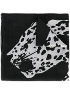 Saint Laurent Leopard Print Scarf, Women's, Black, Wool