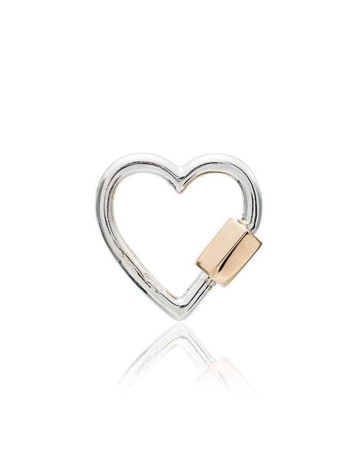 Marla Aaron 14k Yellow Gold Silver Heart Lock Charm - Metallic