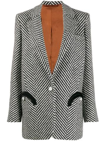 Blazé Milano Striped Print Blazer - Black