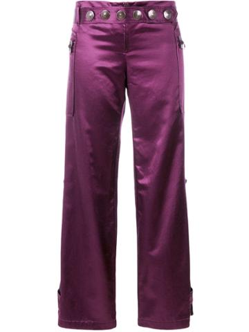 Romeo Gigli Vintage Wide-legged Cropped Trousers - Pink & Purple