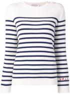 Valentino Striped Knitted Top - White