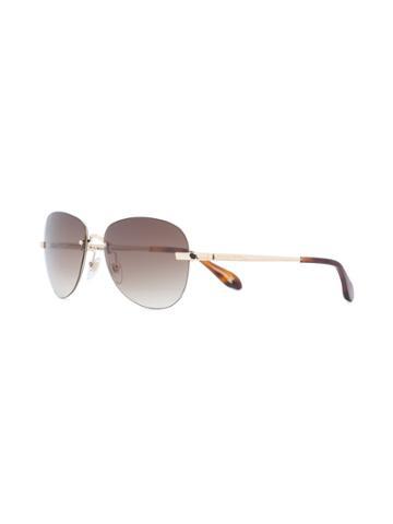 Carolina Herrera Rimless Aviator Sunglasses - Brown
