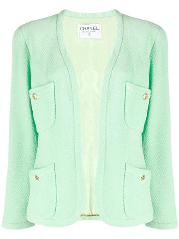 Chanel Pre-owned Tweed Cropped Jacket - Green