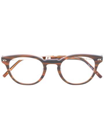 Matsuda - Rounded Glasses - Unisex - Acetate/titanium - 48, Brown, Acetate/titanium