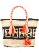 Yosuzi - Juli Geo Tassel Rope Tote - Women - Cotton/straw (brown) - One Size, Cotton/straw