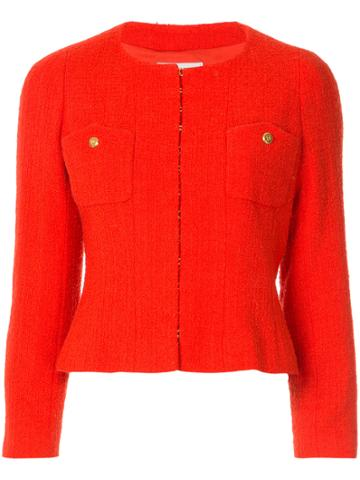 Chanel Vintage Collarless Fitted Jacket - Yellow & Orange