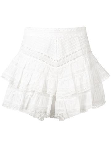 Zimmermann Short Ruffled Shorts - White