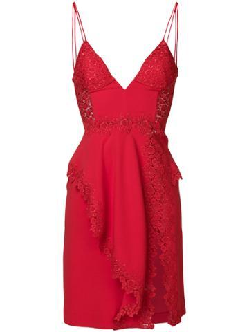La Perla V-neck Side Slit Dress - Red