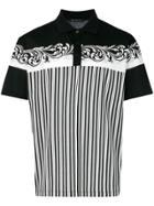 Versace Baroque Printed Striped Polo Shirt - Black