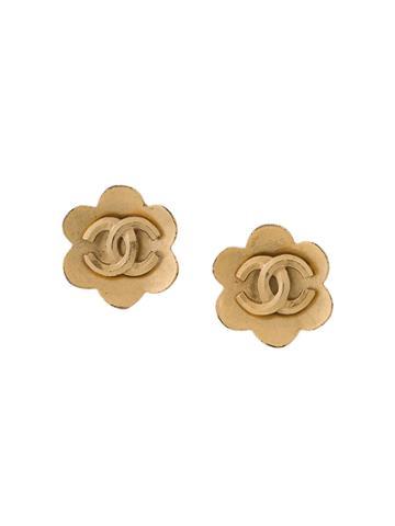 Chanel Vintage Logo Floral Earrings - Metallic