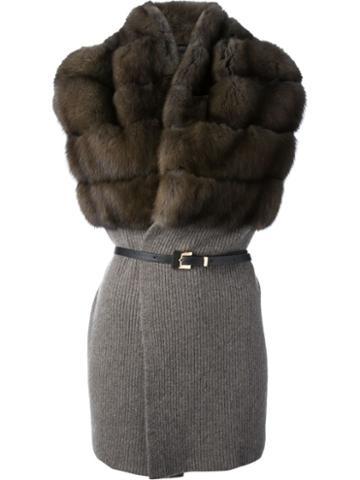 Liska Sable Section Sleeveless Cardigan, Women's, Size: Medium, Grey, Cashmere/sable
