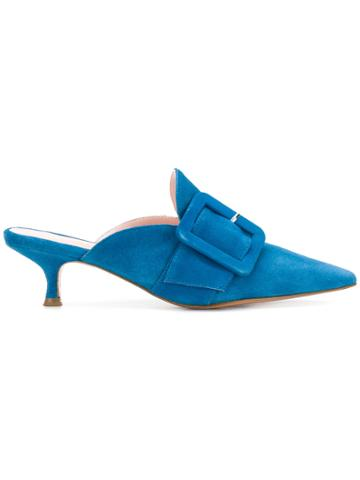 Anna F. Pointed Toe Mules - Blue
