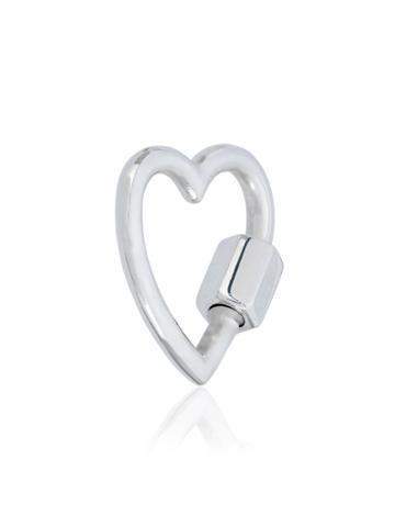 Marla Aaron Silver Baby Heart Lock - Metallic
