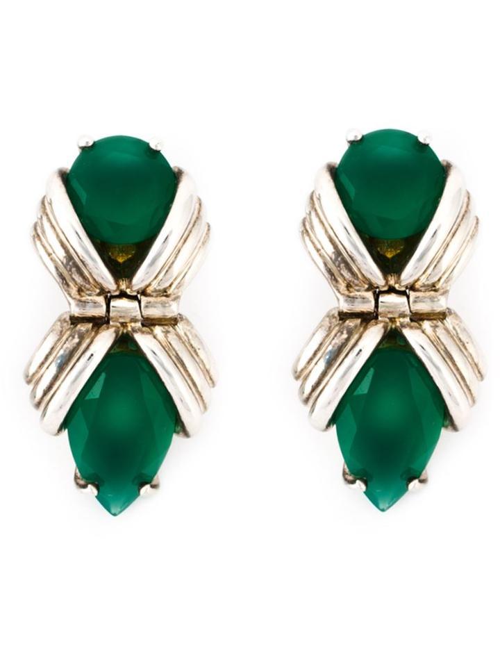Shaun Leane Bound Green Onyx Earrings, Women's, Metallic, Sterling Silver