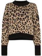 Moncler Leopard Print Jumper - Brown