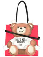 Moschino Teddybear Tote, Women's, Red, Leather