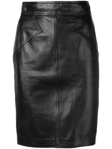 Alaïa Vintage 1980 Leather Pencil Skirt - Black