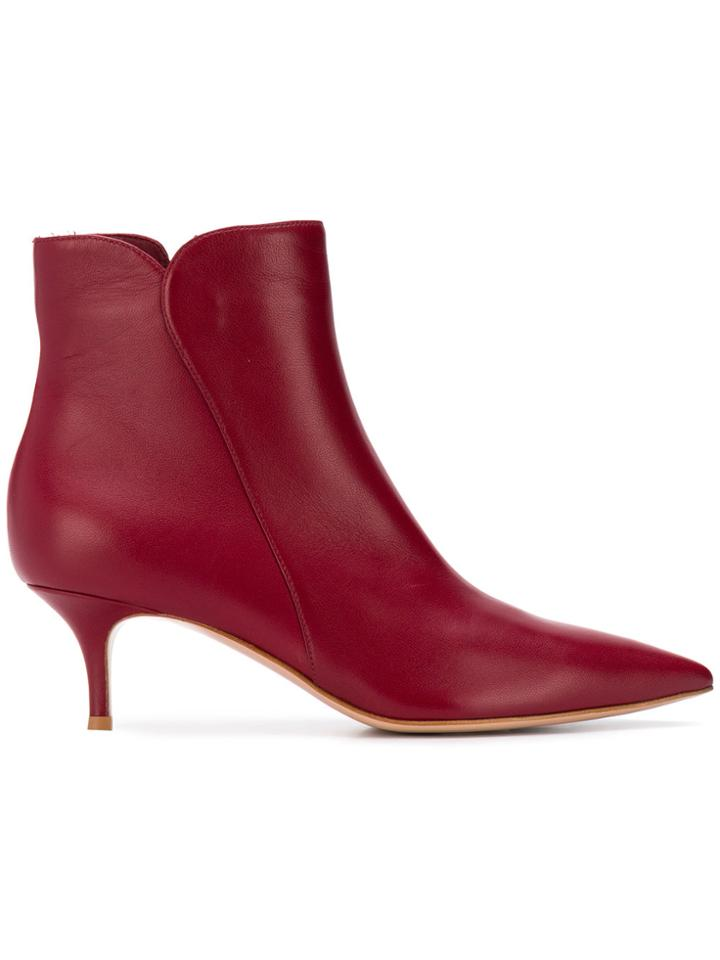Gianvito Rossi Pointed Ankle Boots - Red