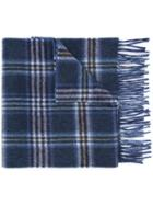 Gieves & Hawkes Plaid Fringed Scarf - Blue