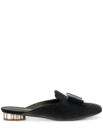 Salvatore Ferragamo Flower Heel Slipper Shoes - Grey
