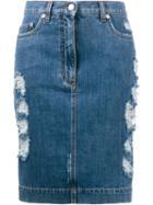 Moschino Distressed Denim Skirt