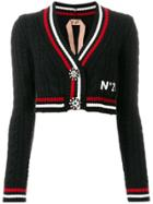 No21 Cable Knit Striped Cropped Cardigan - Black