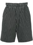 Roar Striped Shorts - Black