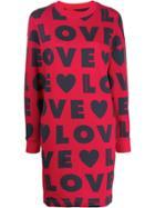 Love Moschino Love Print Sweatshirt Dress - Red